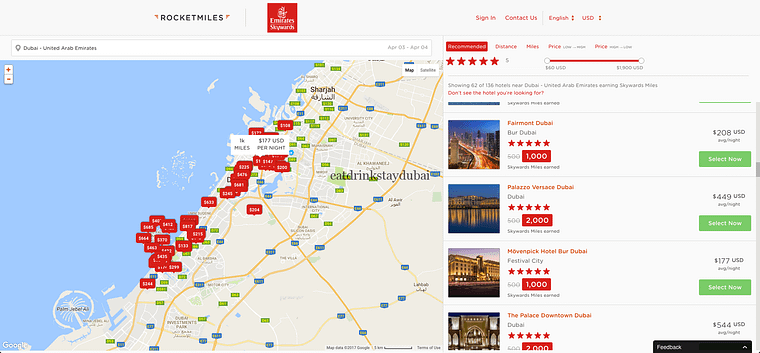 Emirates airline Partners_Rocketmiles cash rates
