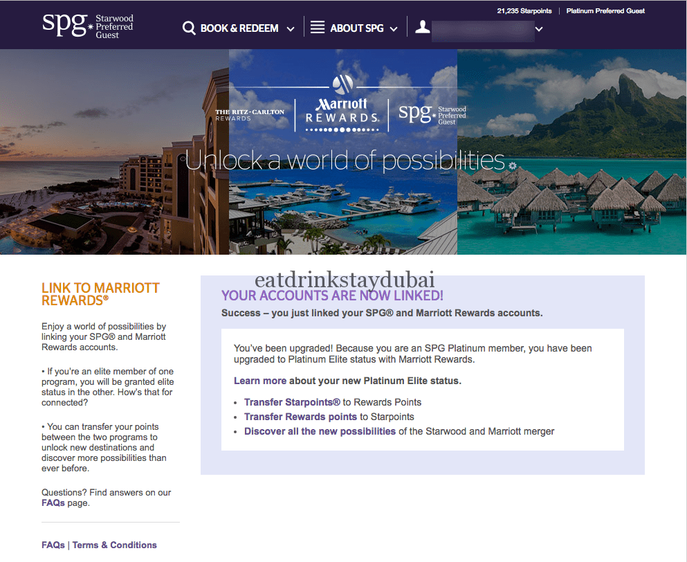 SPG Marriott Rewards Status Match - Success