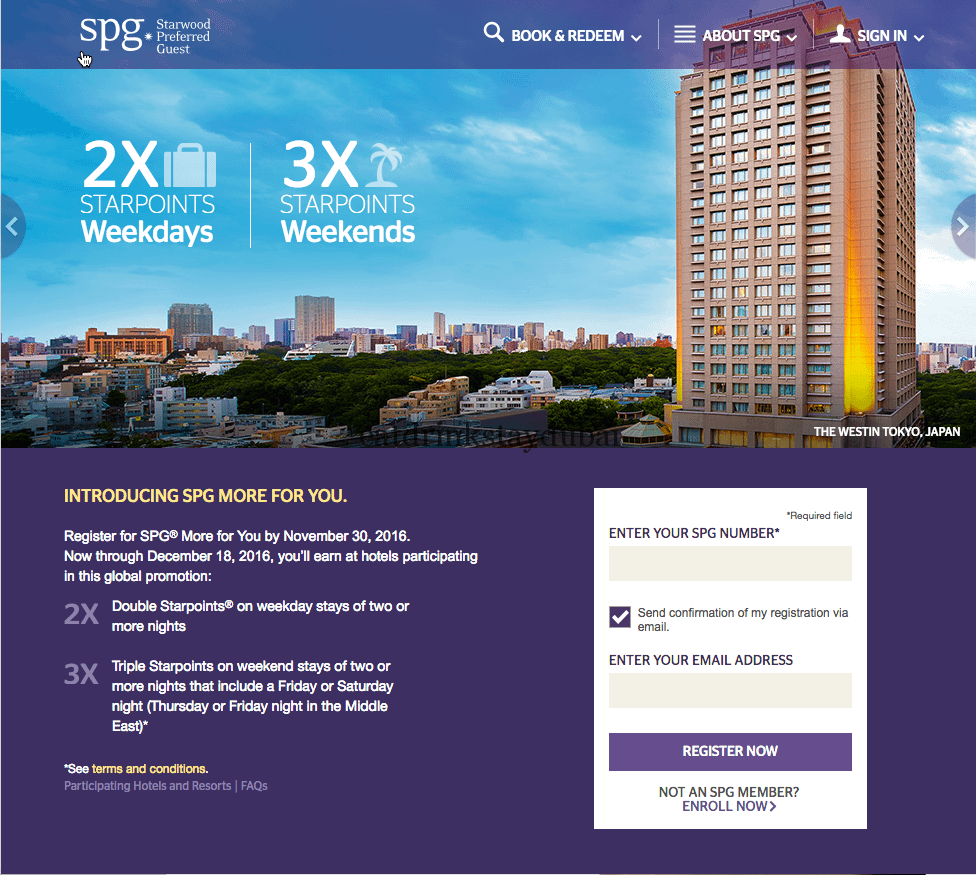 Starwood Preferred Guest: SPG More For You Promo