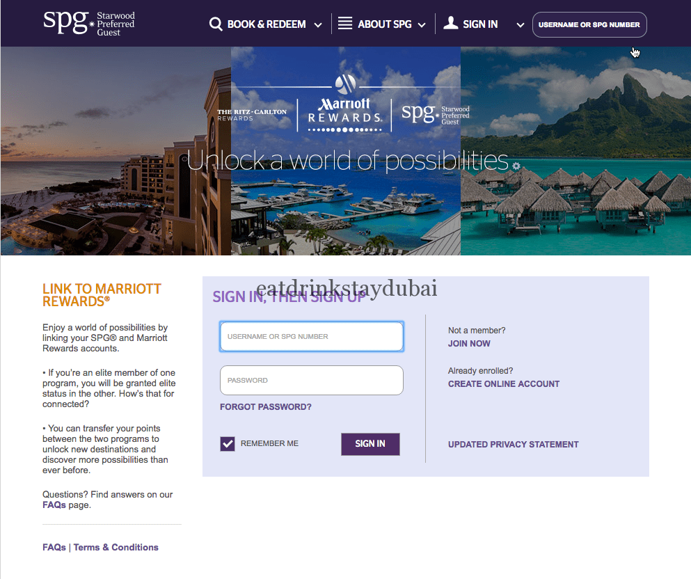 SPG Marriott Rewards Status Match - signup