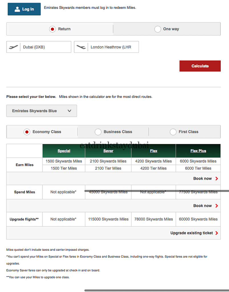 Emirates frequent flyer program - miles DXB LHR return