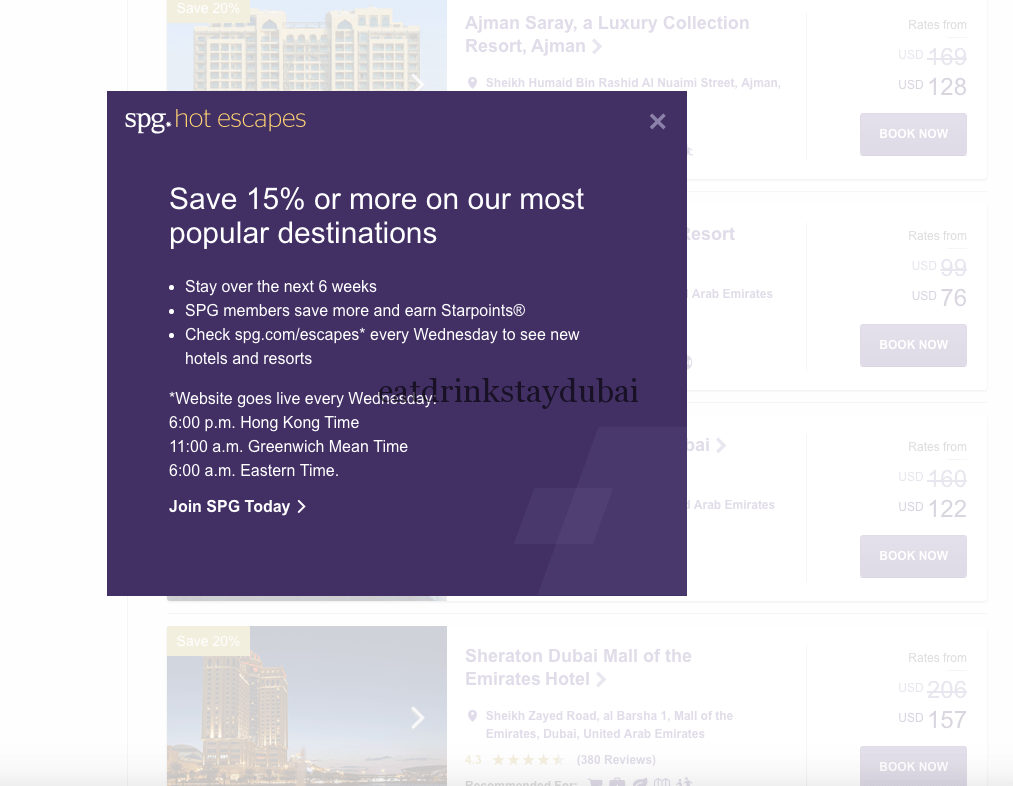 Get UAE hotels discount of 15% or more with SPG Hot Escapes